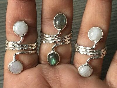 WHOLESALE LOT 3 pcs LABRADORITE &MULTI- STONE.925 STERLING SILVER OVERLAY RINGS