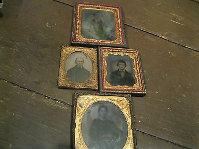 ANTIQUE AMBROTYPES, FOUR, NO COVERS, MEN & LADY Good for, PARTS
