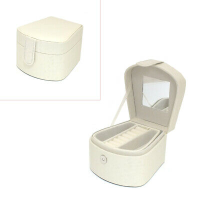 Cream Faux Leather Jewellery Box Compact Style Travel With Mirror And Ring Roll