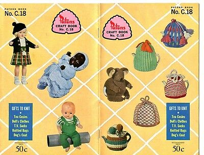 Patons Craft Book No. C.18 - Gifts to Knit - tea cosies, doll's clothes,dog coat