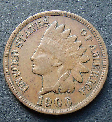 1906 USA Indian Head Penny - Full Liberty and Nice Feather Detail 174
