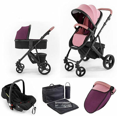Tutti bambini Riviera plus 3 in 1 black travel system & car seat dusty pink plum
