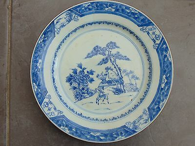 Antique Chinese Japanese Hand Painted Blue & White Plate With Amber Rim