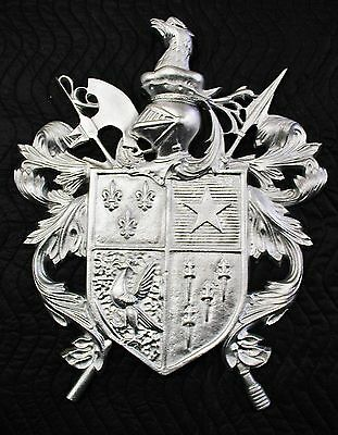 Hooded Knight with Armaments,Shield,Crest,Coat of Arms,Cast Aluminum,18 X 22in