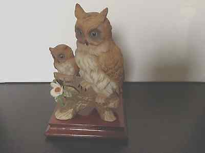 Porcelain Or China Owls With Polished Wooden Plinth