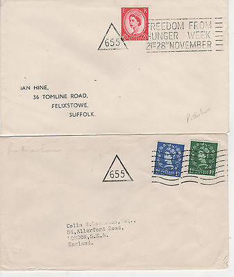 """ROTHERHAM - c.1960 """" 655 """" TRIANGLES - 2 DIFFERENT SLOGAN COVERS"""