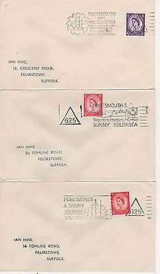 """PORTSMOUTH - c.1960 """" 625 """" TRIANGLES - 3 DIFFERENT SLOGAN COVERS"""