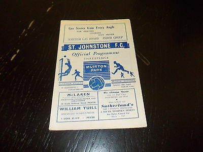 St Johnstone v Cowdenbeath 16th Aug  1957  Scottish League Div 2