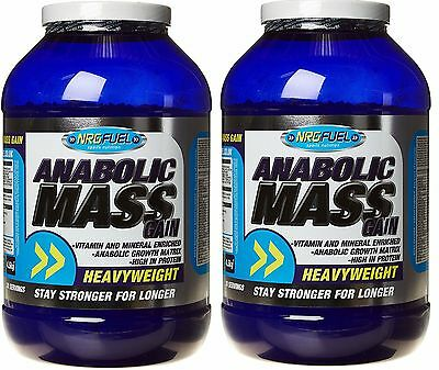 2x NRG Fuel Anabolic Mass Gain 4.5kg Toffee Flavour Protein Supplement 9KG TOTAL