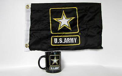 """ARMY STAR Military BLACK Coffee Mug with 12""""x18"""" double side ARMY flag banner"""