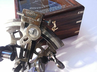 """Nautical Brass Sextant German Marine Sextant 4"""" With Wooden Box Marine"""
