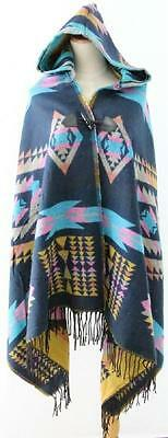 New Blue Native American Indian Design Hooded Poncho Wrap Shawl Cape