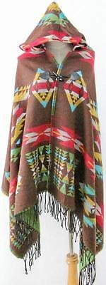 New Brown Native American Indian Design Hooded Poncho Wrap Shawl Cape