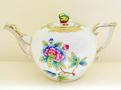 Herend Queen Victoria Miniature Teapot,butterfly Lid End,brand New Boxed