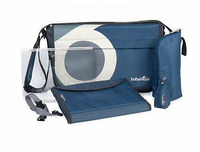 Brand new in bag Babymoov messenger changing bag in petrole and changing mat