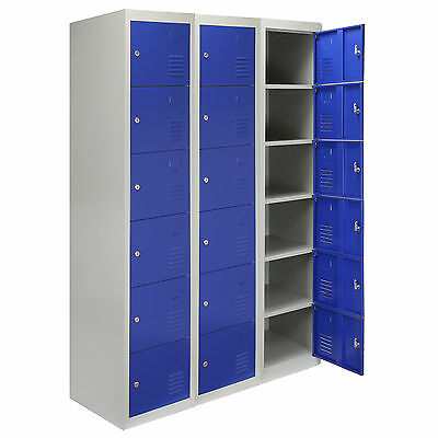 3 x Steel Lockers 6 Doors Lockable Metal Storage Staff Gym Changing School Blue