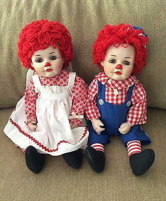 Porcelain Raggedy Ann and Raggedy Andy Dolls/PRICE SLASHED!