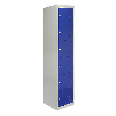 Metal Lockers 6 Doors Steel Staff Storage Lockable Gym School Blue - 45cm D