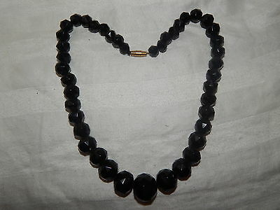 Antique Victorian Facetted Whitby Jet Graduated Necklace ~ Mourning  Gothic