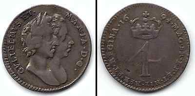 William & Mary 1694 4 Pence Groat Maundy Conjoined Busts Good Grade Nice Patina