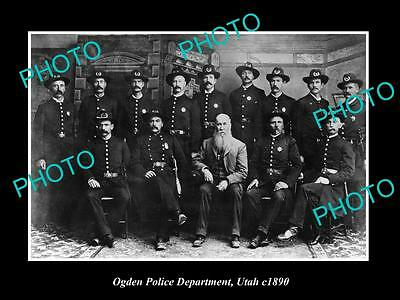 OLD LARGE HISTORIC PHOTO OF OGDEN UTAH, THE POLICE DEPARTMENT c1890