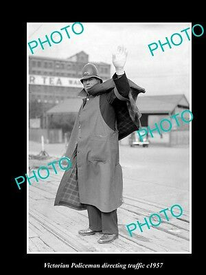 Old Large Historic Photo, Victorian Policeman Directing Traffic, Melbourne 1957