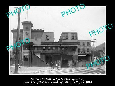 OLD LARGE HISTORIC PHOTO OF SEATTLE USA, THE CITY HALL & POLICE STATION c1910