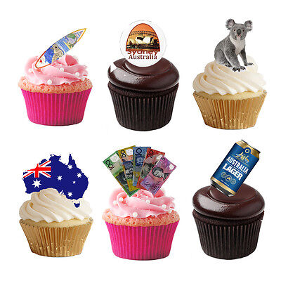 33 Stand Up Australia Aussie Themed Edible Wafer Paper Cake Toppers