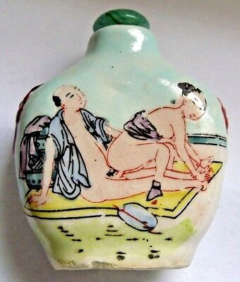 Chinese Hand Painted Porcelain Glass Snuff Bottle / Kama Sutra