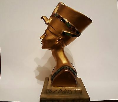 "Egyptian Queen Bust Ornament Statue Figurine Height 5"" Base 3"" x 2 1/2"" Resin"
