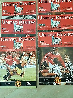 Manchester United Set of 6 Home Treble Programmes