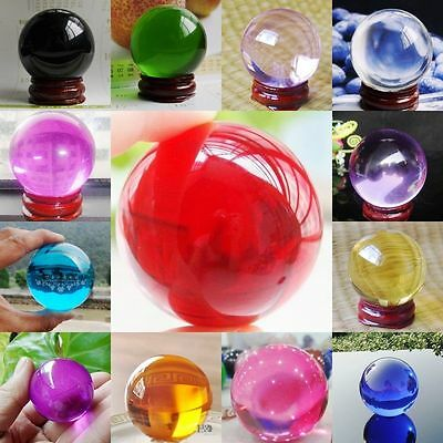 Free Shipping!!40MM Magic Asian Ball Glass Sphere Crystal Ball 10 Colors + Stand