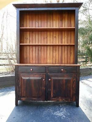 "Antique Amish Built Unfinished Reclaimed Barn Wood 4' China Cabinet Hutch 78""h"