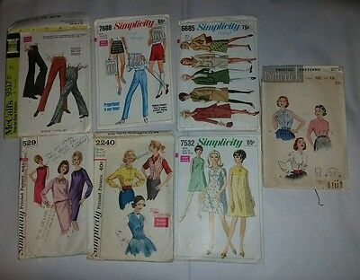 7 Vintage Sewing Patterns - Simplicity, McCall's Butterick, 1960s & 70's earlier