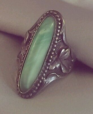 Vintage 1930-40's Sterling Silver Chinese Peking Glass Cabochon Ring