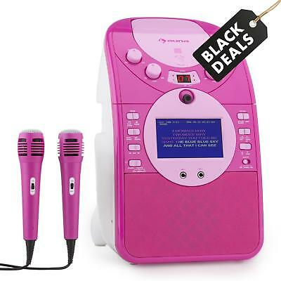 Impianto Karaoke Videocamera Frontale Cd Usb Sd Mp3 Microfoni Rosa Display Testo