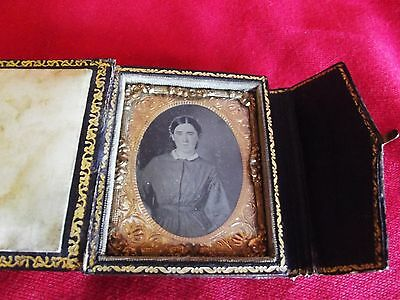 Ambrotype of a Lady in Nice and Uncommon Leather Book-Style Case. 3 X 2 1/4