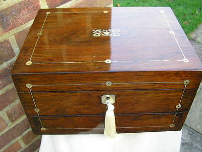 QUALITY c 1860 ROSEWOOD PEWTER & MOP INLAY JEWELLERY BOX WRITING SLOPE LOCKING .