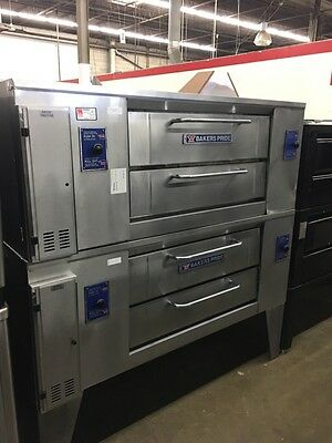 """Bakers Pride DS-990 - 48"""" Double Stack Gas Pizza Deck Oven - 7"""" Height - Refurb."""