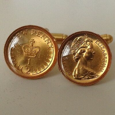1971 1/2p Coin Cufflinks. Gold plated and glazed. Heads & Tails. 45th Birthday