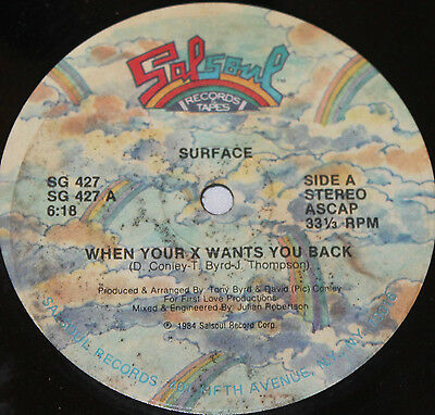 "SURFACE * WHEN YOUR X WANTS YOU BACK * Classic Soul Funk Boogie 12"" Vinyl"