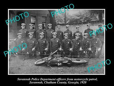 OLD LARGE HISTORIC PHOTO OF SAVANNAH GEORGIA, THE POLICE MOTORCYCLE SQUAD c1930