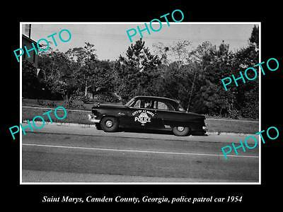 Old Large Historic Photo Of Saint Marys Georgia, The Police Department Car, 1954