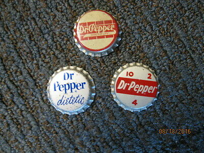 Dr Pepper Bottle Caps With Cork Insert. (Three) 1940's 50's & 60's..