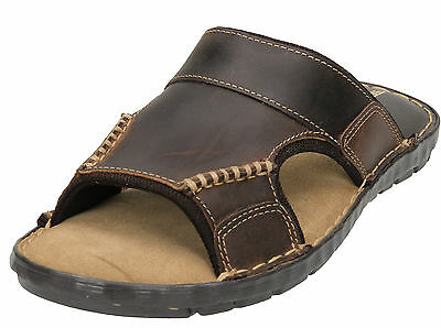 Mens Brown Real Leather Slip On Mules Flip Flops Casual Sandals Shoes Slippers