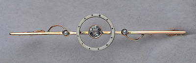 9ct Gold & Sterling Silver Aquamarine And Seed Pearl Enamel Bar Brooch / Pin