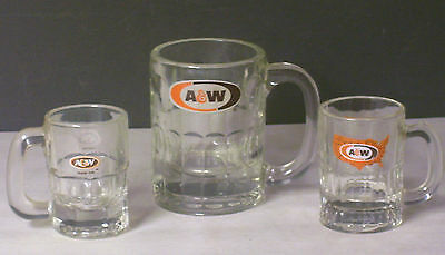 3 Different Labels And Sizes A&w Root Beer Glass Mugs 2 Small 1 Medium Mug
