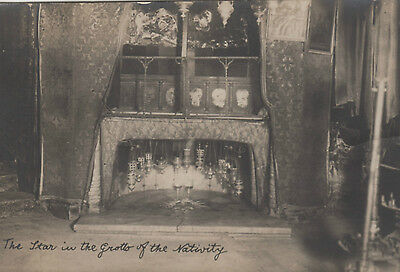 Old Postcard Bethlehem Star in the grotto of the Nativity