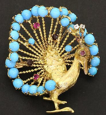 Vintage 1960s jumbo 18K gold beautiful turquoise/ruby/topaz peacock bird brooch