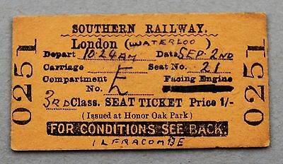 SR London seat reservation ticket (issued at Honor Oak Park) 2/9/1939